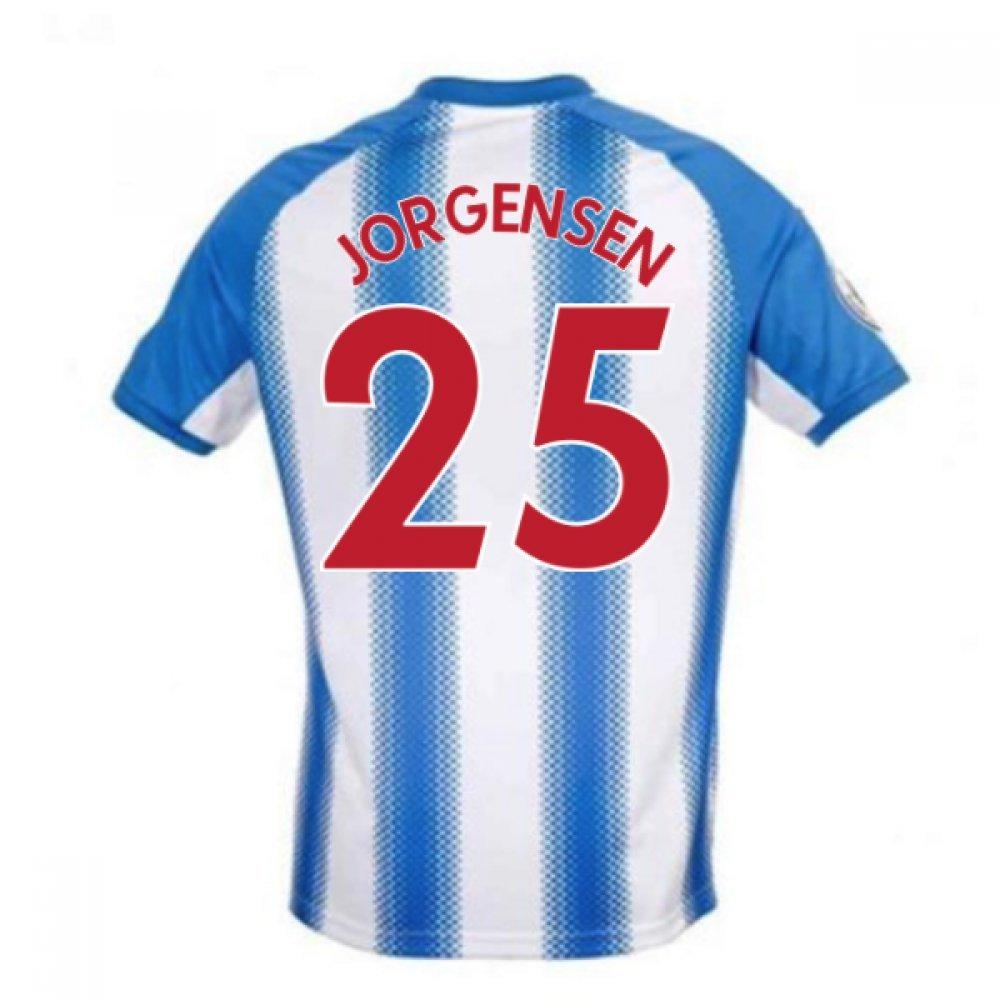 2017-18 Huddersfield Town Home Football Soccer T-Shirt Trikot (Mathias Jorgensen 25)