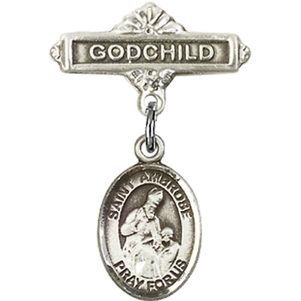Ambrose Charm and Godchild Badge Pin 1 X 5//8 inches Sterling Silver Baby Badge with St