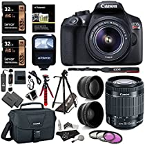 Canon EOS Rebel T6 Digital SLR Camera Kit with EF-S 18-55mm f/3.5-5.6 IS II Lens, 2X Lexar 32GB 633x Memory Card, Canon Bag and Accessory Bundle