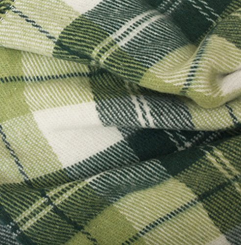 "Luxury Wool Blanket 55""x79\"" by CG Home - Super Warm and Soft Green Blanket for Cozy Fall and Winter Days -Tartan Plaid Throw Blanket Accents Any Home Décor (Twin)"