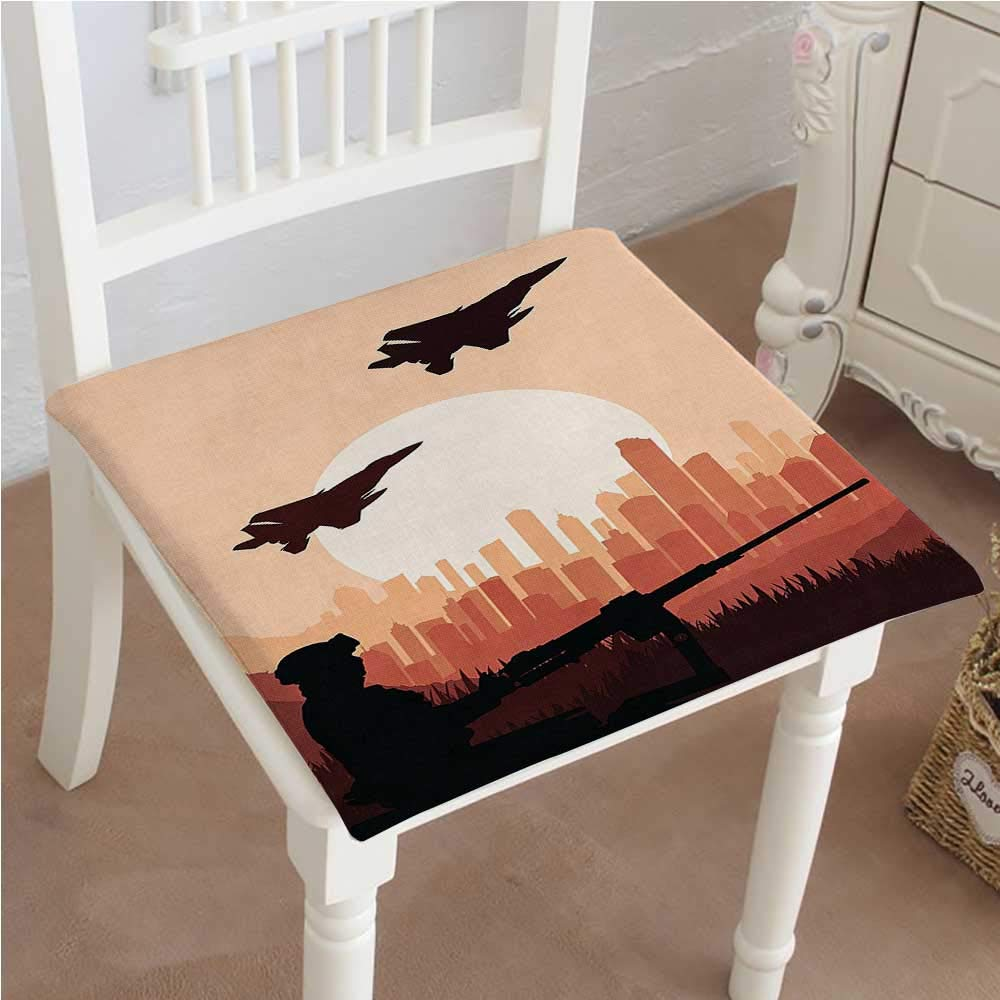 Mikihome Outdoor Chair Cushion War Sier Shadow with Weapon Warplanes and Skyscraper Epic at Sunrise Orange Comfortable, Indoor, Dining Living Room, Kitchen, Office, Den, Washable 20''x20''x2pcs by Mikihome