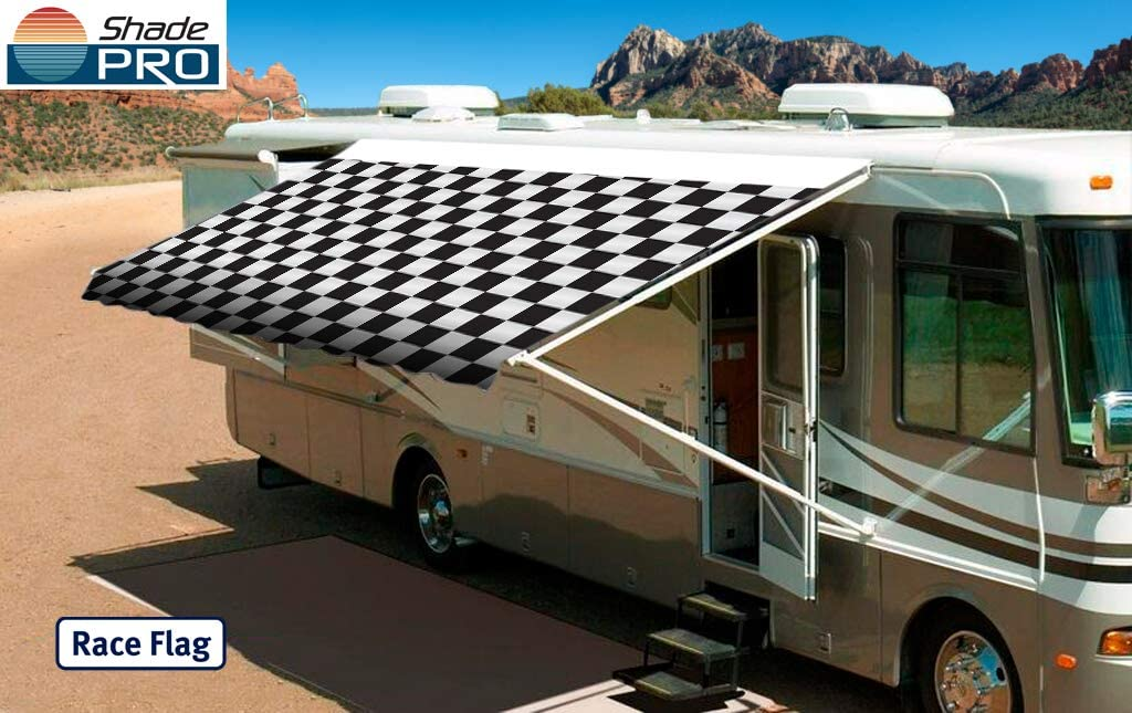 Shade Pro RV Vinyl Awning Replacement Fabric – Checkered Flag 16 Fabric 15 2