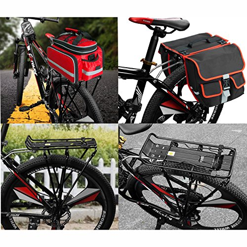 Flexzion Bike Rear Rack Mount - Bicycle Back Seat Pannier Luggage Backpack Cargo Basket Carrier with Taillight Mount Lightweight Aluminum for Road MTB Mountain Folding Bike 55 lbs Capacity by Flexzion (Image #3)