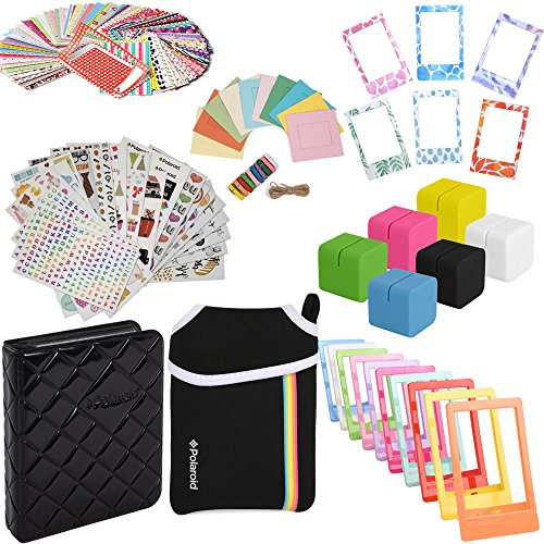 Elite Bundle - 9 Unique Sticker Sets + Pouch + Photo Album + 100 Sticker Frames + Hanging Frames + Magnet Frames + Cube Stands + Frame Stands For HP Sprocket, LG, Prynt, LifePrint Projects - Album Magnet