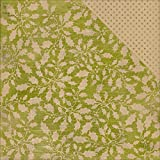 Tidings Double-Sided Cardstock 12X12-#12, Newsprint Holly/Green & Kraft Dot by Authentique Paper