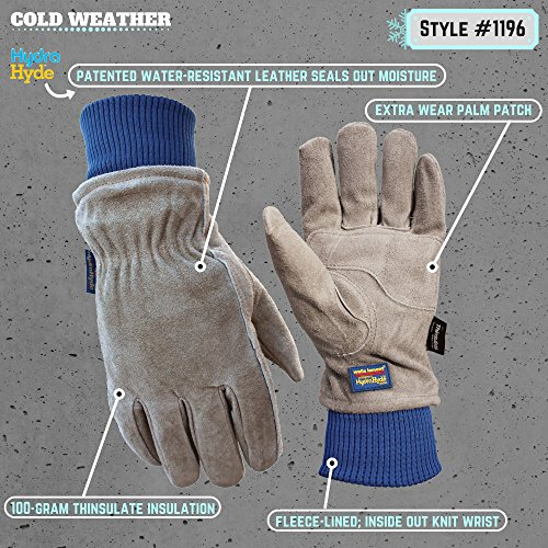 Wells Lamont 1196L Water Resistant Very Warm 100 g Thinsulate, Hydra Hyde, Men's Winter Work Gloves, Large, Saddletan by Wells Lamont (Image #1)