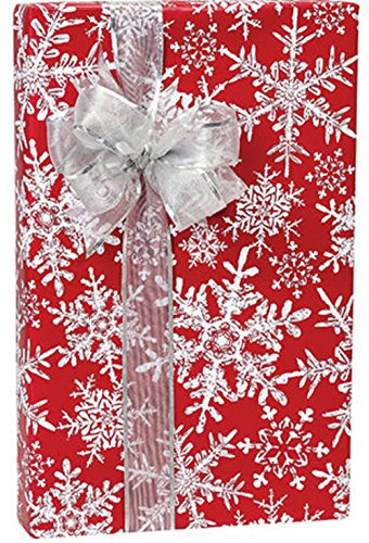 Red & White Lacy Snowflakes Christmas Gift Wrap Wrapping Paper – 15 Foot Roll