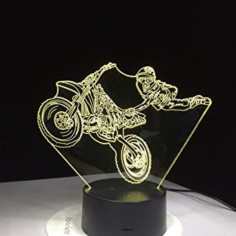KangYD Moto Stunts Lámpara De Mesa 3D, Luz De Noche LED ...