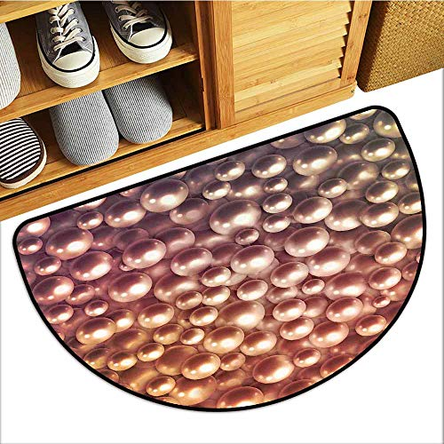 (TableCovers&Home Dog-Cat Mat, Pearls Indoor Out-Imdoor Rugs for Kitchen, Various Size Mixed Rare Nacreous Pearls Gemstone Oyster Concept Golden Ombre Pattern (Brown, H20 x D32 Semicircle) )