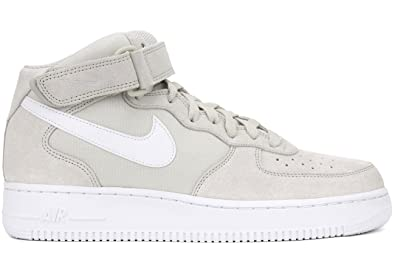 Nike Men's Air Force 1 mid '07 Leather Running Shoes Light Bone / White / White