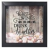 Lawrence Frames 10x10 Black Shadow Box Wine Cork Holder, Black