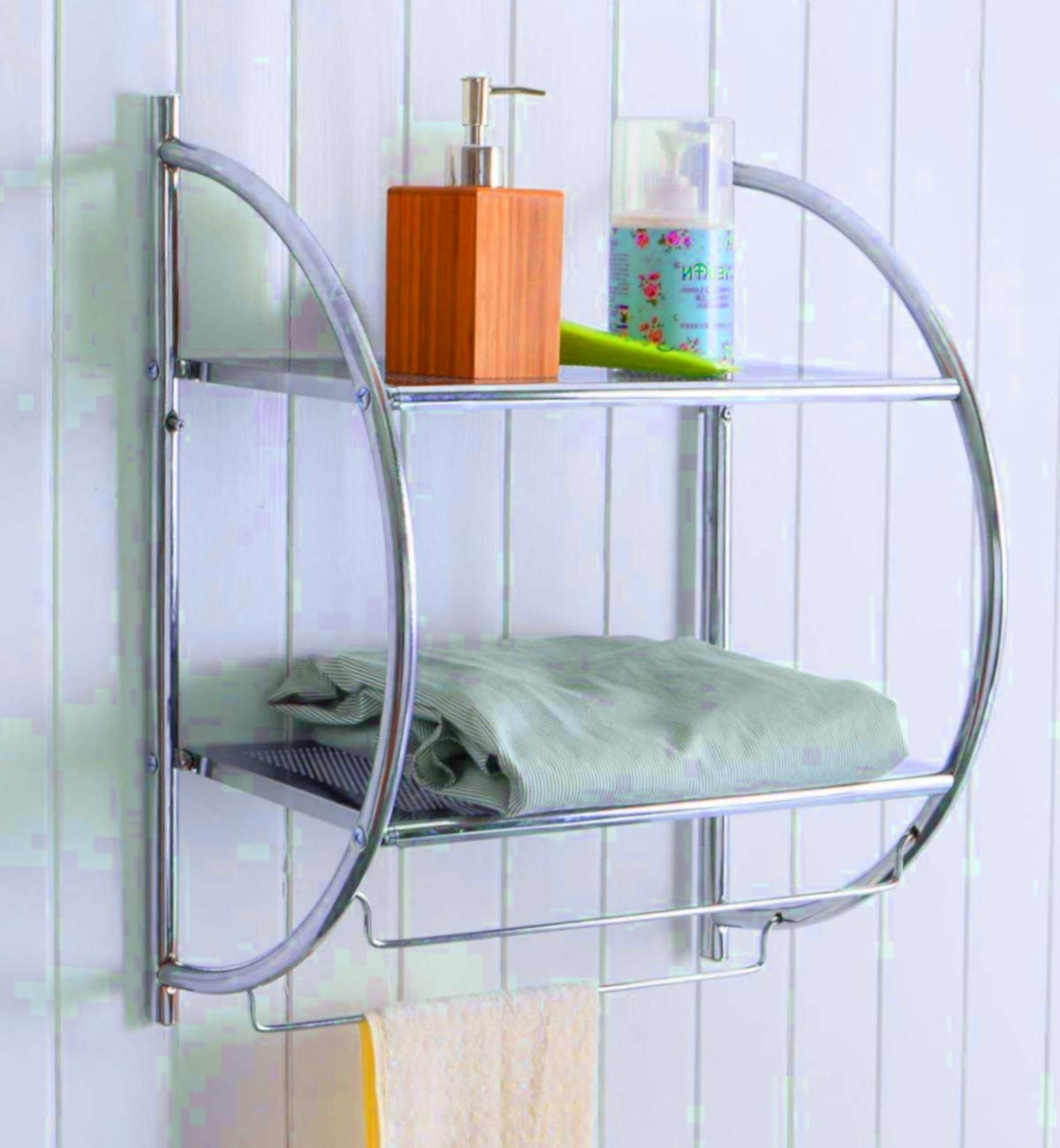 SET OF 2 Half Circle Wall Mount Bathroom Shelf Bathroom Storage Cabinet Organizer Small Slim Rack Furniture Towel Holder Hanging Shelving & Ebook by AllTim3Shopping. - The Half Circle Wall Mount shelf unit is a wall mounting, 2 tiered hanging open cabinet furniture. Ideal for bathroom use, has great rust resistance. Slim and small it ensures smart storage, with two narrow racks and two bottom towel holder bars that keep your shower essentials by your hand's reach. - shelves-cabinets, bathroom-fixtures-hardware, bathroom - 61K yaUfYpL -