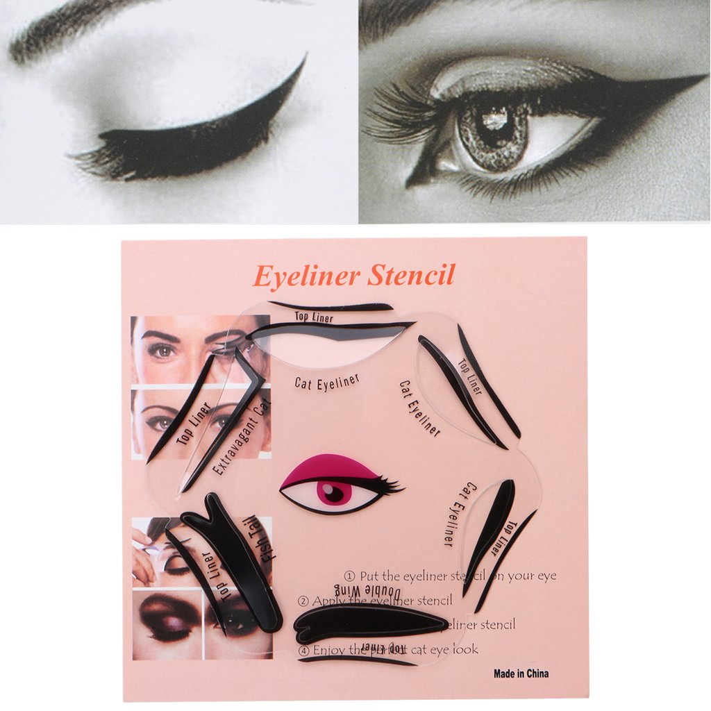Eyeliner Template | Amazon Com Amrka 6 In 1 Eyeliner Stencil Set Template Quick Cat