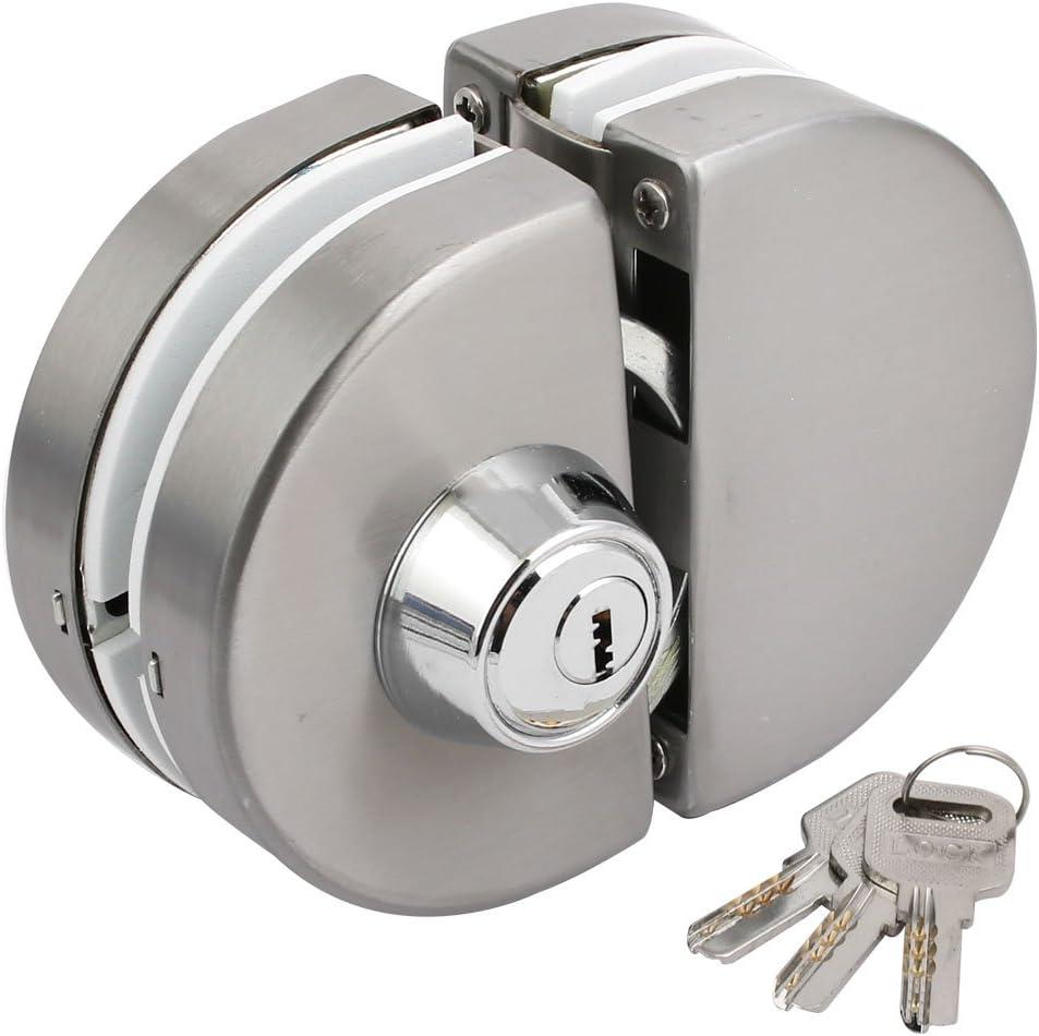 uxcell - Juego de cerradura de puerta corredera de cristal ovalado de 10 a 12 mm de grosor: Amazon.es: Bricolaje y herramientas