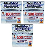 NeilMed Sinus Rinse All Natural Relief 100 Premixed Packets Nasal Irrigation (Pack of 3)