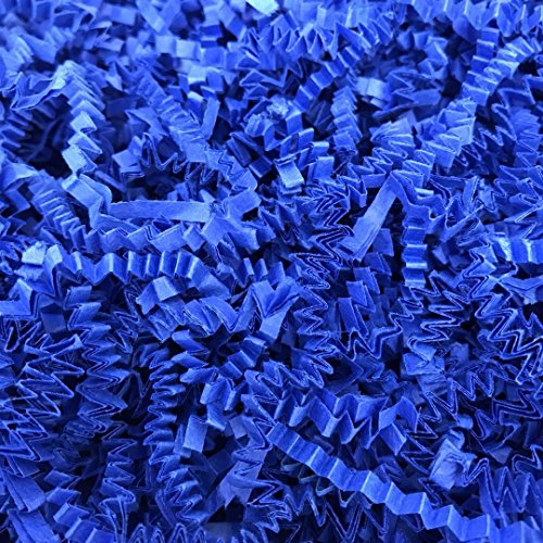 Basket Blue Gift (Black Cat Avenue 1/2 LB Royal Blue Crinkle Cut Paper Shred Filler for Gift Wrap and Basket Filler)