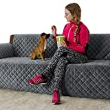 FURRY BUDDY Quilted Velvet Pet Sofa Cover, Water Resistant Couch Furniture Cover, Non-Slip Silicone Rubber Bottom, Tucking Flaps, 8 Tying Strings, 3 Storage Pockets, Grey …