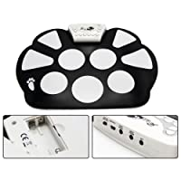 Costway Electronic Roll Up Drum Kits Portable Musical Practice Instrument W/Stick&Pedal