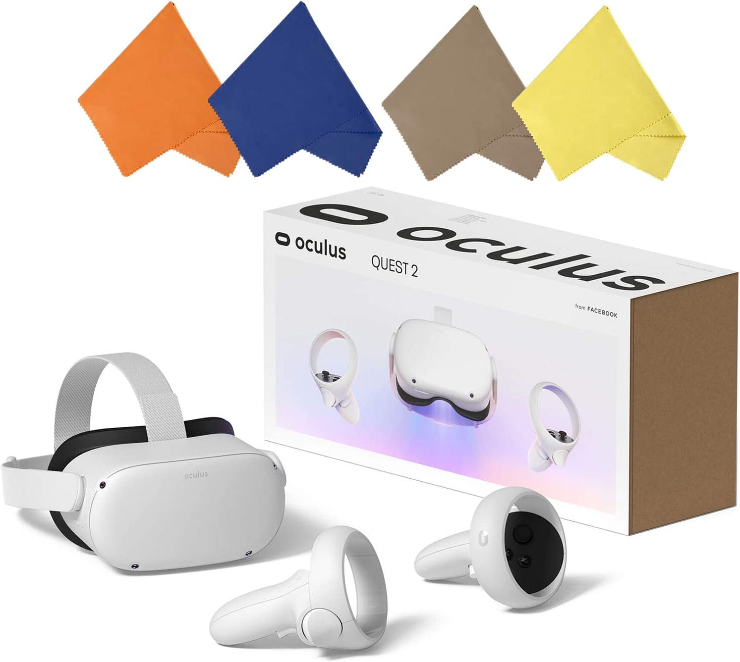 Oculus Quest 2 — Advanced All-in-One Virtual Reality Gaming Headset — Holiday Family Entertainment — White — 64GB Video — BROAGE 4 Colors Glasses Cleaning Cloth