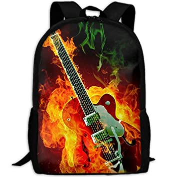 3D Guitarra Eléctrica con Fuego Unisex Mochila Ligera Bolsas de Portátil Bolso de Hombro Escolar Libreta Mochila: Amazon.es: Electrónica