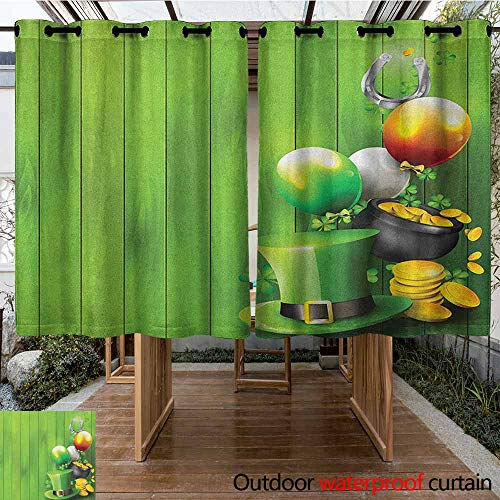 AndyTours Outdoor Curtain Panel for Patio,St. Patricks Day,Wood Design with Shamrock Lucky Clovers Pot of Gold Coins and Horse Shoe,Insulated with Grommet Curtains for Bedroom,K140C183 Fern Green