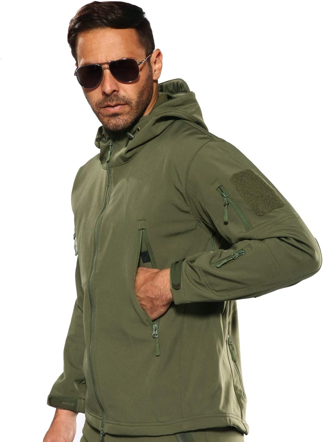 YEVHEV Mens Outdoor Waterproof Tactical Jacket Long Sleeve with Hood and 6 Pockets Military Fleece Jackets Tactical Military Coat for Outdoor Activities