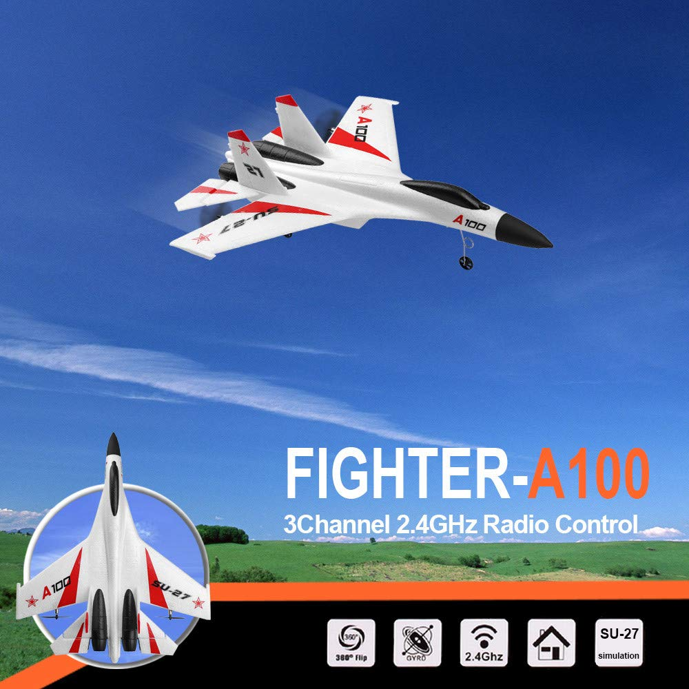 CUEYU RC Segelflugzeug,WLtoys A100 SU-27 Ferngesteuerte Flugzeuge,3CH 2.4G RC Flugzeug RTF Segelflugzeug,EPP Composite Material,Ideal f/ür Anf/änger und Kinder