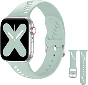 Doasuwish Compatible with Apple Watch Band 38mm 40mm, Sport iWatch Bands 38mm 40mm Breathable Silicone Soft Replacement Wristbands Compatible for Apple Watch Series 5/4/3/2/1, Women Men, Light Green