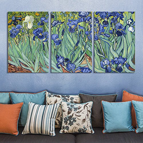 wall26 3 Panel Canvas Wall Art - Irises by Vincent Van Gogh - Giclee Print Gallery Wrap Modern Home Decor Ready to Hang - 16
