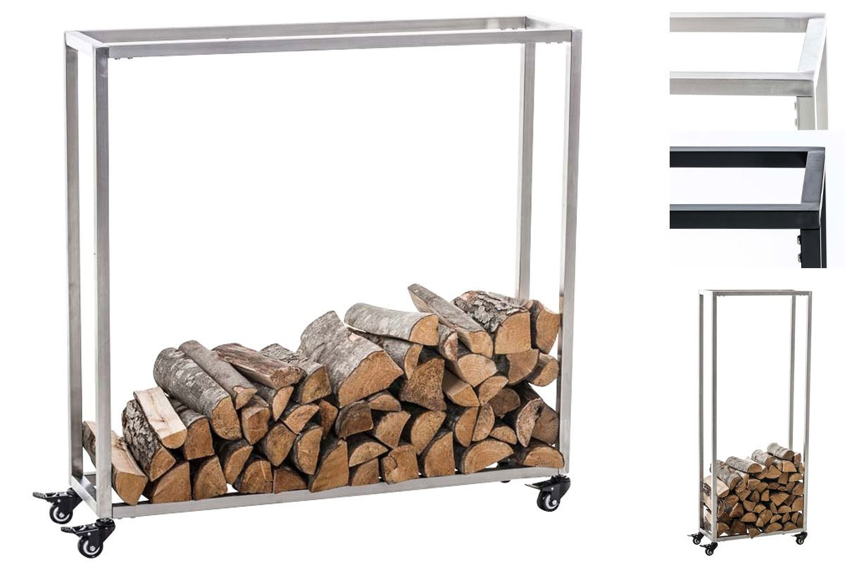 CLP Firewood rack HETTA, height 100-150 cm, log holder, wood basket black, 25 x 40 x 100 cm