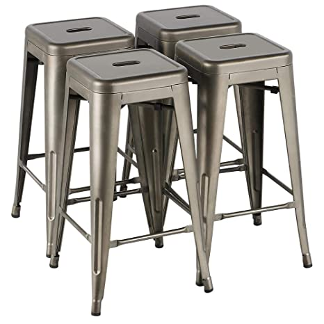 Magnificent Yaheetech 30 Inches Metal Bar Stools High Backless Stools Bar Height Stools Patio Furniture Indoor Outdoor Stackable Kitchen Stools Dining Chair Set Uwap Interior Chair Design Uwaporg