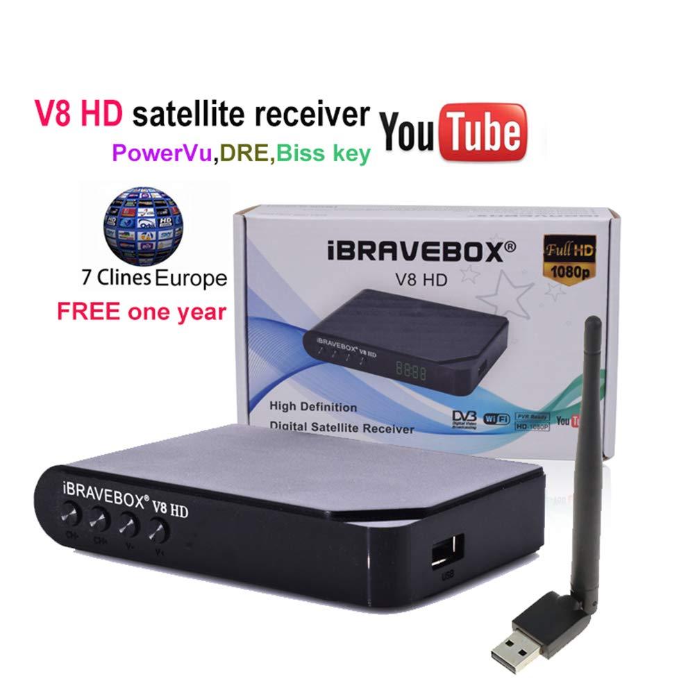 PinShang Satellite TV Receiver iBRAVEBOX V8 HD 1080P DVB-S2 Digital Free Satellite Web TV Receiver PVR USB WiFi EU Plug