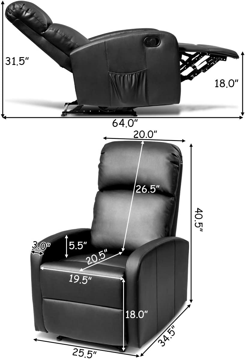 Giantex Manual Leather Padded Recliner Chair dimensions