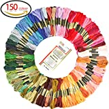 #5: GeMoor 150 Skeins Embroidery Floss with 16 Pcs Embroidery Needles - 1200M Premium Rainbow Color Cross Stitch Floss - Cotton Cross Stitch Thread with 6 Strands Perfect for DIY, Bracelets, Embroidery