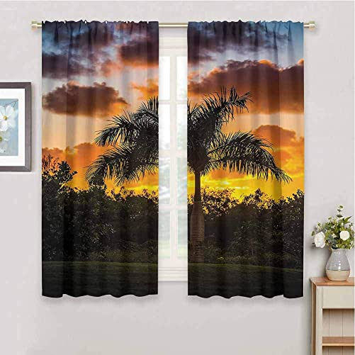 Palm Tree Decor Living Room Blackout Curtains, Curtains 84 inch Length Palm Tree Silhouette Scene at Sunset Twilight Tranquility in Nature Image Repeatable use Orange Green W84 x L84 Inch