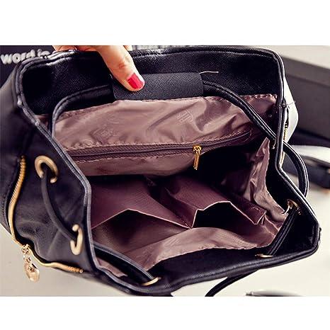 Amazon.com: Backpack Women Pu Leather Female Backpacks Teenager School Bags: Clothing