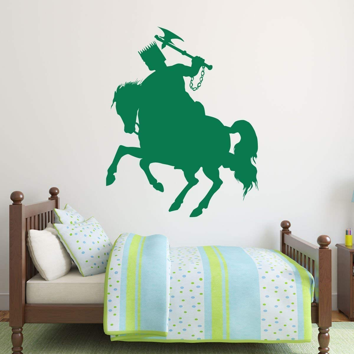 Personalized name wall decal for boys bedroom or playroom medieval knight on horse silhouette custom vinyl decoration small large sizes black