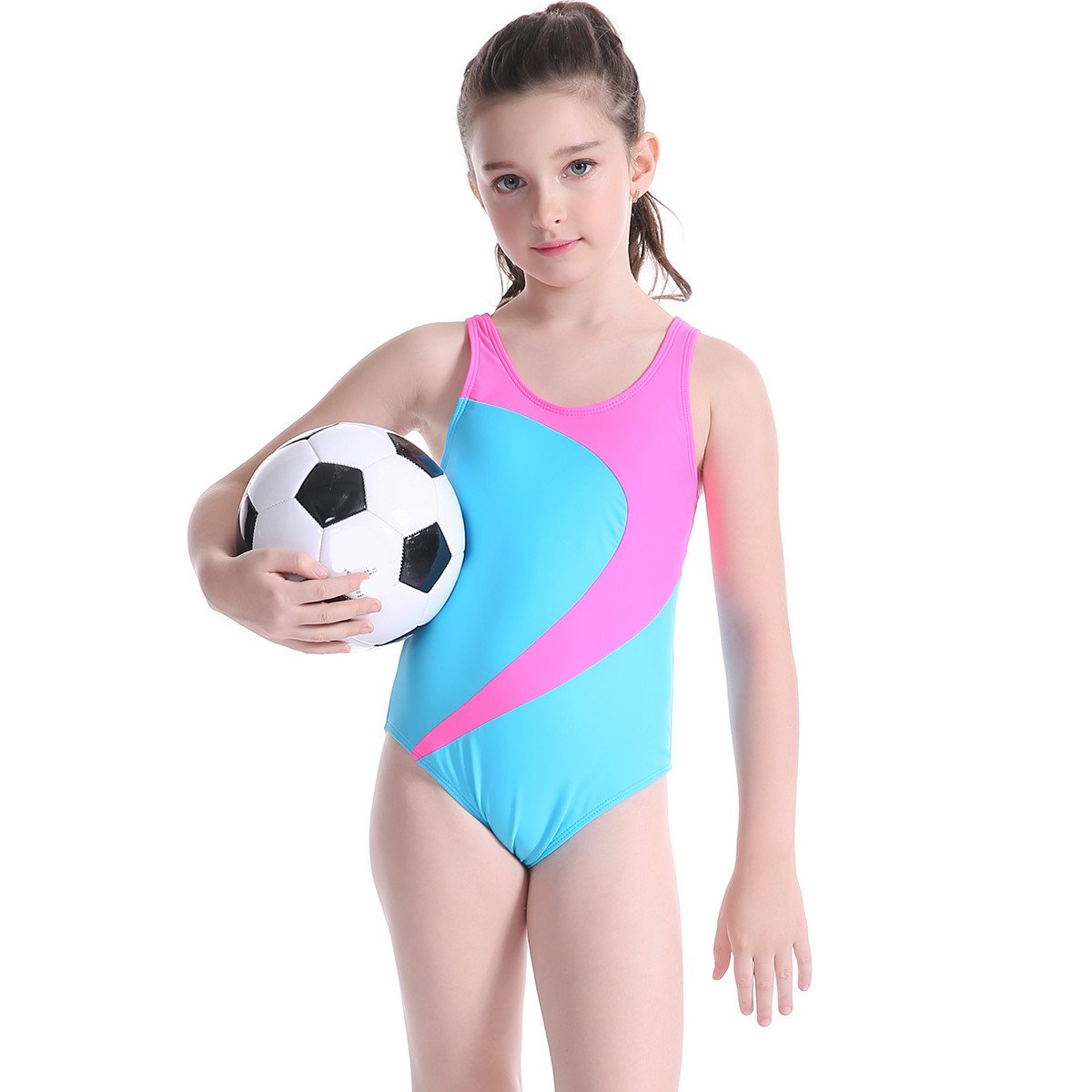 TenMet Girl's Swimwear Swimsuit Monokini Kids Beachwear Backless Elastic Bathing Suit Anti UV Surfing Sporty by TenMet