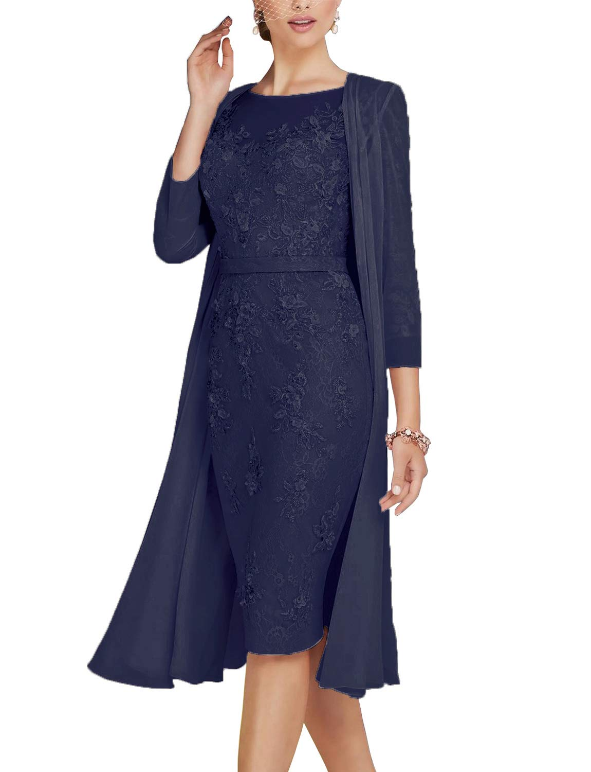Casual Navy Blue Mother of the Bride Dress