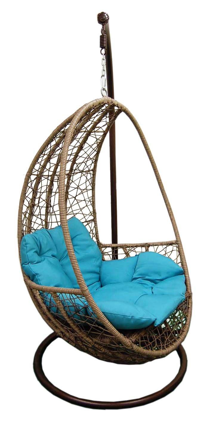 Hanging egg shape Resin Wicker swing Chair & Stand & Cushion (blue Cushion)