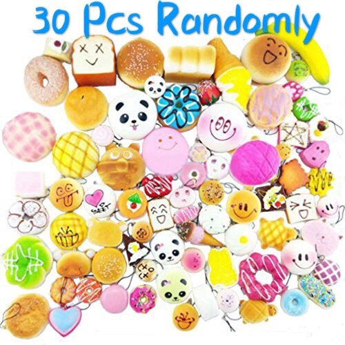 Originnt 30 Pcs Kawaii Squishies Slow Rising Jumbo Mini Random Cake Bread Panda Bun with Phone Straps Kids Pretend Play ibloom squishy Charms