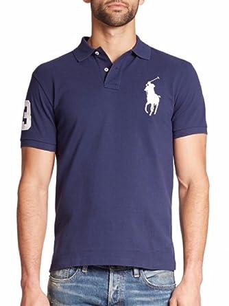 Polo Ralph Lauren Big Pony Mens Custom Fit Mesh Polo Shirt (XS, Blue)