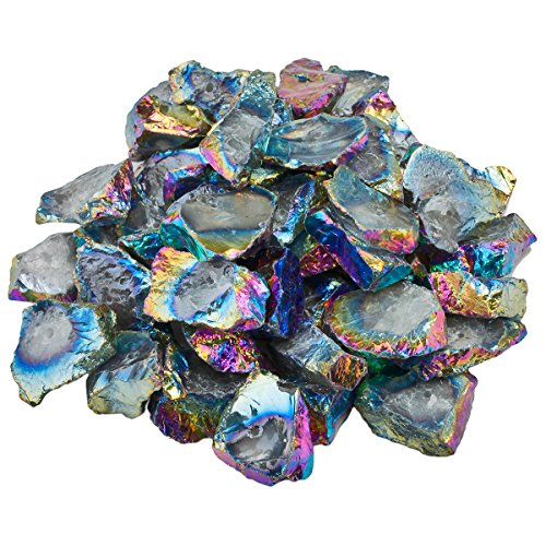 SUNYIK Rainbow Aura Titanium Coated Middle Drilled Natural Crystal Quartz Rough Irregular Loose Beads for Jewelry Making,1pound(about 460 (Wire Wrapping Cabochons)