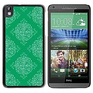 Be Good Phone Accessory // Dura Cáscara cubierta Protectora Caso Carcasa Funda de Protección para HTC DESIRE 816 // Pattern Wallpaper Art Vintage Green