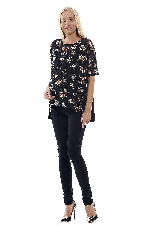 motherway Damen Umstandsmode Tunika Bluse Top Shirt Schwangerschaft Standardgrösse mit Blumen