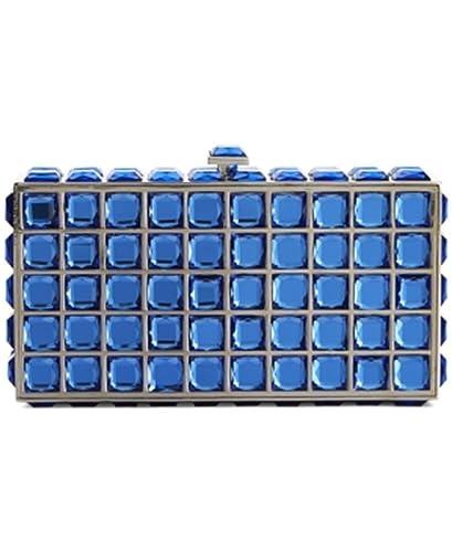 STEPHANIE NICOLE SASHA HANDBAGS SQUARE STONE CLUTCH ROYAL BLUE ...