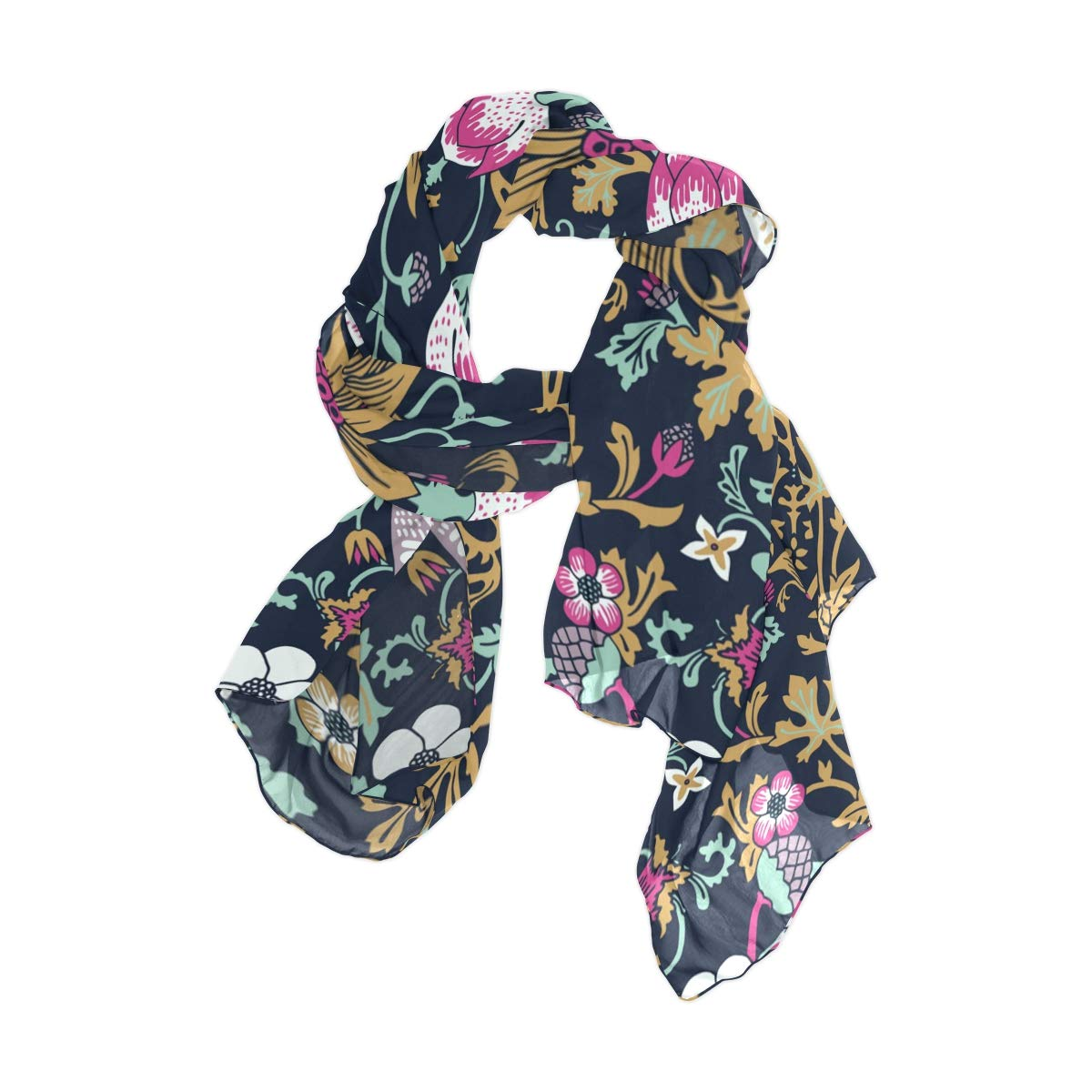 163366791e8 AHOMY Women s Lightweight Scarf Shawl Magic Forest Bird Flower Polyester  Long Fashionable Wrap for Ladies and Girls at Amazon Women s Clothing store