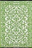 Green Decore ''Gala'' Outdoor/Reversible Eco Plastic Rug, Herbal Garden, Green/Ivory