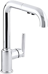 KOHLER K-7505-CP Purist Primary Pullout Kitchen Faucet, Polished Chrome