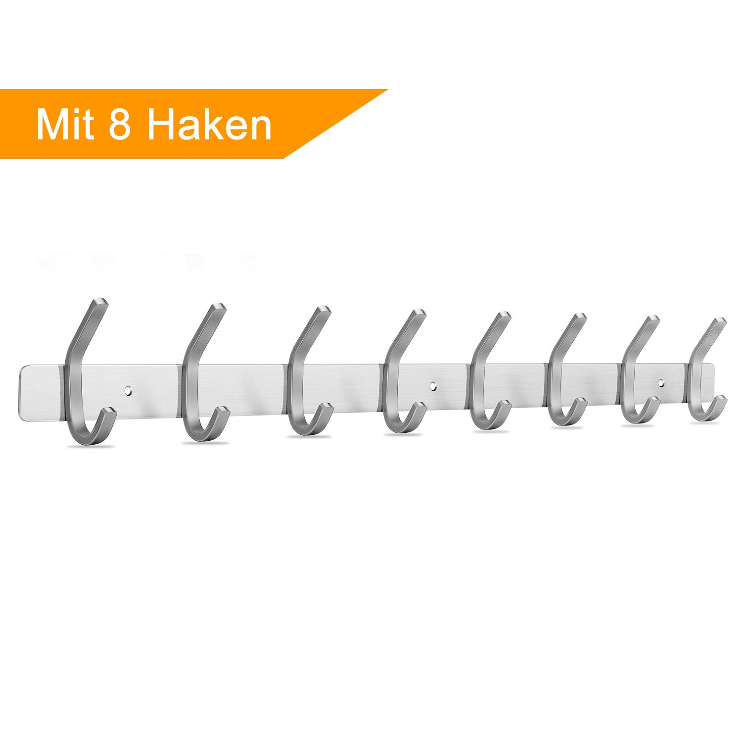 Towel Coat Hook Rack Rail Shelf with 8 Hooks Wall Mount Stainless Steel Hanger Heavy Duty Clothes Hat Holder (8 Hook) Joywell